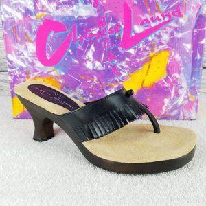 NEW CL Leather Fringe Heeled Thong Sandal Black 9M